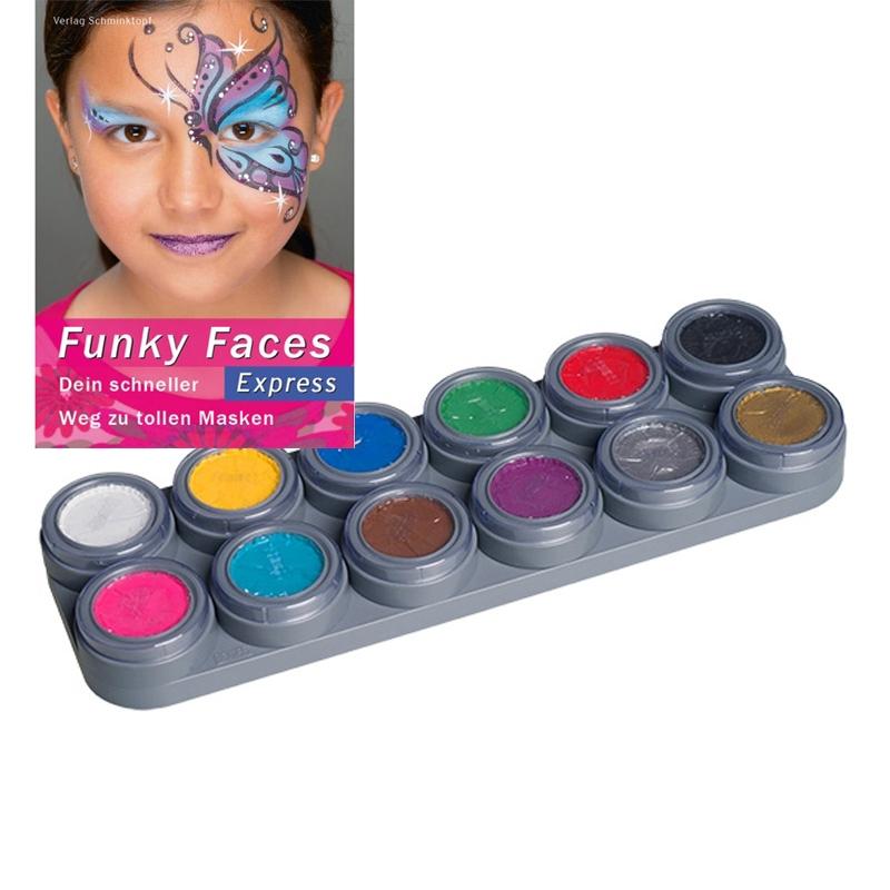 Grimas Kinderschminke Set Palette 12 Farben Schminkanleitungen