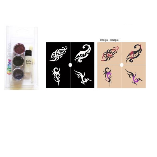 Party Glitter Tattoo Kit Schminke Tribal