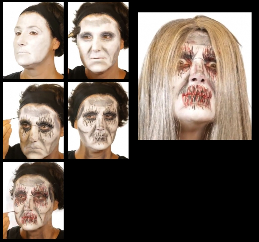 Weisser Zombie Untote Schminkset Halloween-make-up