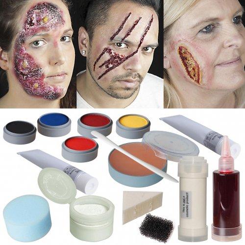 Halloween Schminke Profi Set Schminkset Wunden Brandwunde schminken Grimas