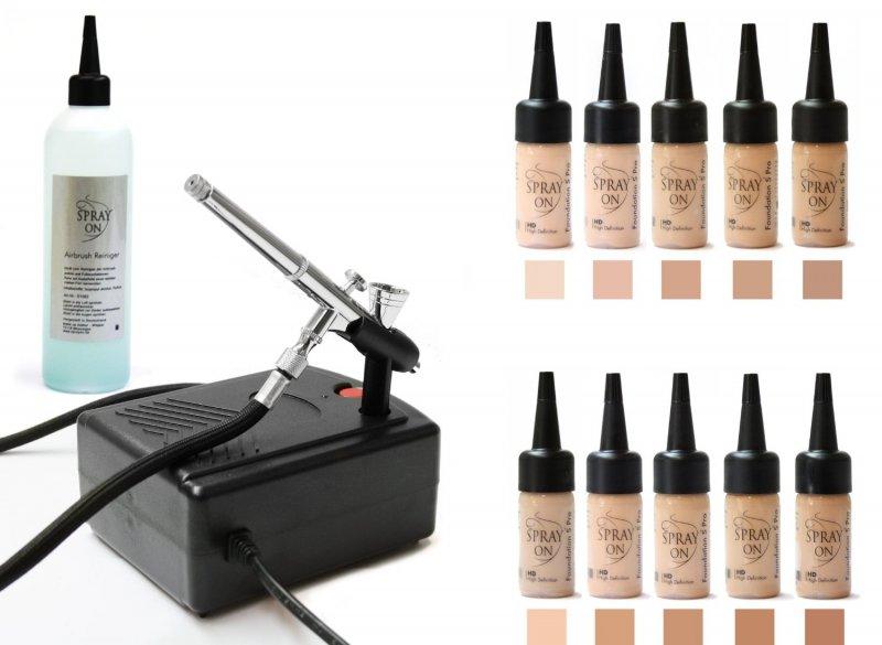 Airbrush Make-up Profi Set Ausstattung Komplett Silicone Based Deluxe
