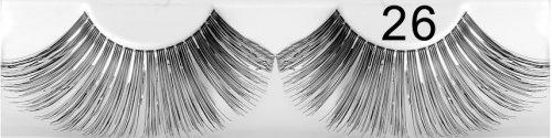 Künstliche Wimpern schwarz Silberfäden 26