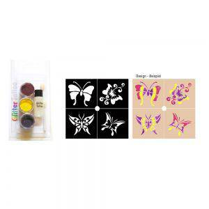 Party Glitter Tattoo Set Schminke Schmetterling