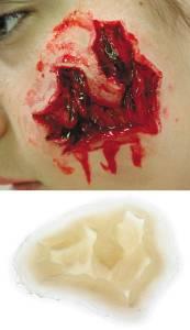 Wunden schminken Halloween Platzwunde Silikon Teil E06